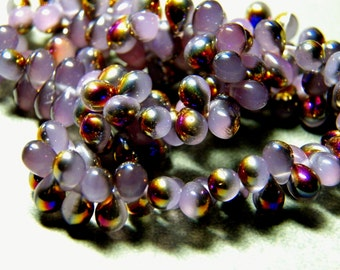 Czech Lilac Luster Glass Teardrop Beads 5x7mm (50) 0707-P
