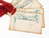 Victorian Christmas Tag, Old Fashioned Christmas, Gift Tag, Christmas Berries