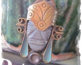 Vintage Brass Copper, Obsidian or Onyx Aztec Mayan Warrior Pendant - Statement Piece