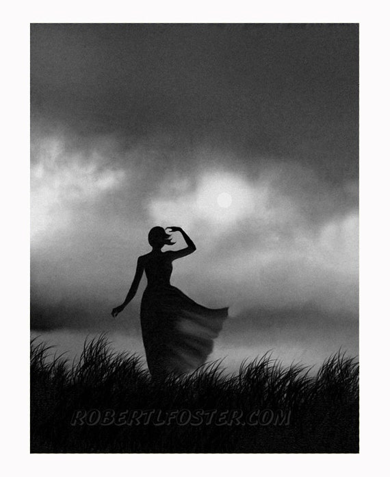 Romantic art, lady print, woman and storm, girl in rain, alone, romance, girl searching, love, teen, storm, lonely, storm clouds, dark sky,