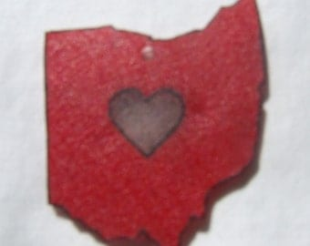 Red and Grey Ohio with Heart Charm