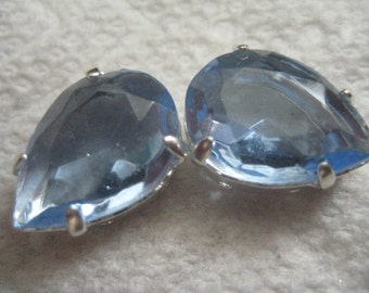 Lot of  2 18x13mm Light Sapphire Unfoiled W. German Rhinestone in Silver Plated Sew On settings