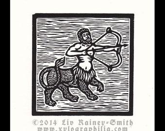 Sagittarius Zodiac astrological woodcut print hand pulled print 6 x 6