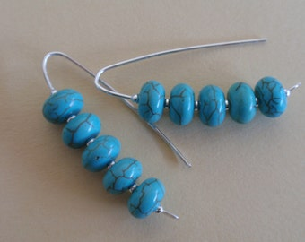 Turquoise Howlite Stone Stack Sterling Silver Earrings