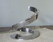 Vintage Dansk silver plate spiral designed tapered candle holder Candleholder designed by Bertil Vallien
