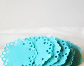 Aqua Blue Doily Envelope Seals | Doily Paper Stickers for Engagement or Invitation Seals | Aqua Blue Doily Embellishments