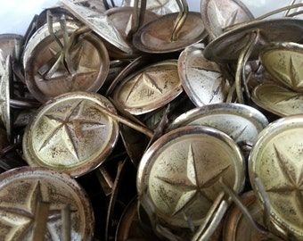 Vintage Metal Star Epaulette Marching Band Pins Collector Craft Supplies Steampunk Set of 2