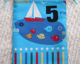 Blue Boy Drawstring Bag with Sailboat and Five Fishies, 5 Fish, fifth birthday present, little boy toy pouch, fish, lake, boat, airplane