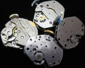 Vintage Antique Industrial Looking Watch Movements Steampunk Altered Art Assemblage DI 14