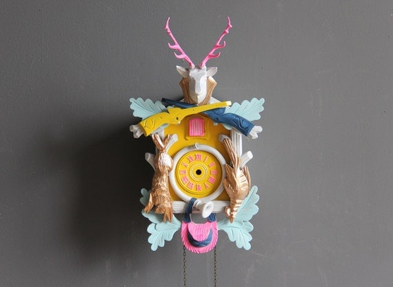 Neon Pink, Blue, Yellow & Gold Cuckoo Clock. Working Condition