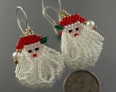 Santa Claus beaded earrings by Linda, Christmas in North Pole