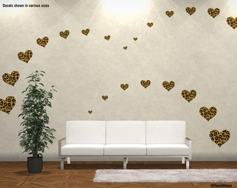 Choose Size U0026 Qty: LEOPARD PRINT Hearts Reusable Wall Decal Stickers    (Easy Peel