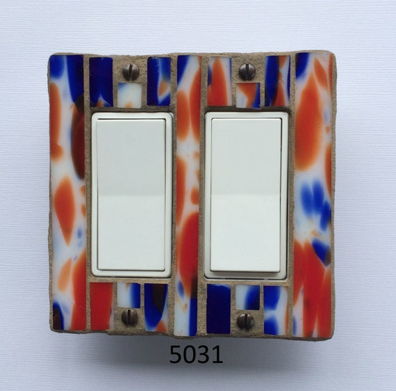 Stained Glass Switchplate - Double Light Switch Plate - Royal Blue and Orange 5031