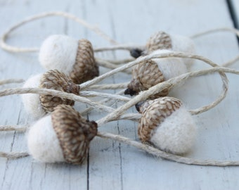 Set of 6 Winter White Wool Needle Felted Acorn Ornaments with Jute Hangers