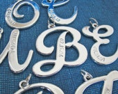 custom cursive initial charm hand stamped with your text (charm only)