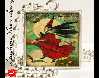 Halloween Necklace - Witch Necklace - Halloween Jewelry - Witch Jewelry- Vintage Halloween Style-B Small Pendant - Witch Pendant