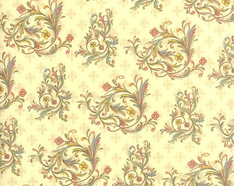 Floral Flourish Fleur de Lis Print Italian Paper ~ Kartos Italy  K163