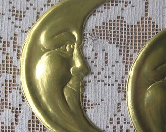 2 Large Dresden Moons Made In Germany Die Cut Gold Dresden Crescents