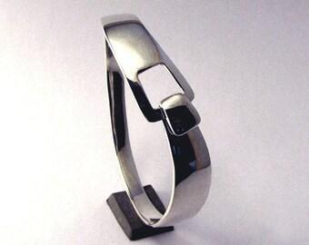 Silver Bracelet, Sterling Silver, Square Latch