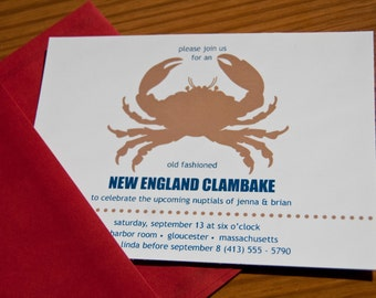 New England Clambake Nautical Party Invitation Rehearsal Dinner Save the Date  Set of 10 by Belleza e Luce