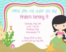 Mermaid Birthday Mermaid Invitation Mermaid Party Mermaid Baby Shower Photo Birthday Party Invitation Invites Printable Girl Birthday Party