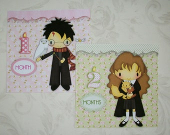 BABY GiRL PHOTo ProPs - HaRRy PoTTeR- Magical - Baby Shower Gift - SeT oF12 - Click on all photos - Monthly Stickers - HPMO 43567