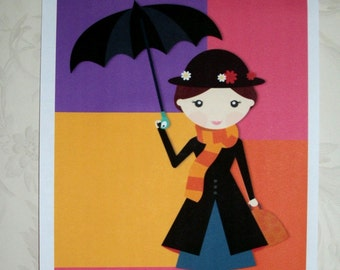Mary Poppins - COLOR BLOCKING - WaLL ArT - Choice of Sizes - Whimsical - Primary Colors - CBWA 8843