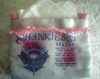 """WWII 1940's U.S. Air Forces Vintage Silk Hankie Pouch """"Sister"""""""