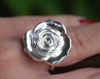 Rose Ring, Fine Silver, valentines gift, Love, Vintage Rose Ring, Flower Ring, Silver Rose Ring, Silver Flower Ring