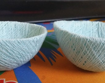 blue string bowls, bird nests, crafts supplies, findings
