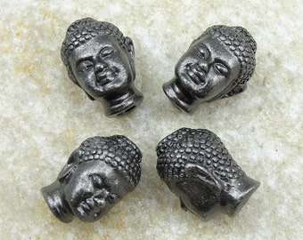Black Buddha Beads - TierraCast Buddha Head Beads with Large Holes for Leather Yoga Jewelry (PB13)