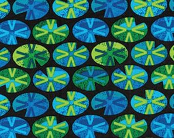 Lily Pads Green Black Leap Frog Benartex Fabric 1 yard