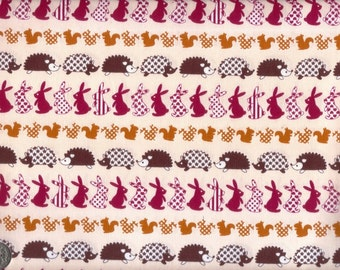 Half Yard Japanese Cotton Fabric Hedgehog Rabbit Squirrel Woodland 3 to choose