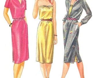1980s Dress Pattern Vintage Butterick Fast Easy Uncut Sewing Women's Misses Size 10 Bust 32 . 5 Inches