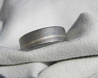Titanium Ring, 1mm Offset White Gold Inlay, Frost Finish, Wedding Band