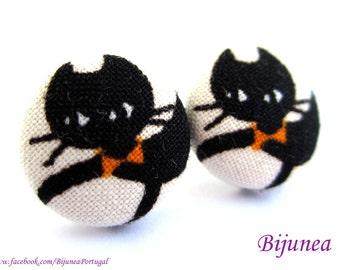 Cat earrings - Black cat stud earrings - Black cat studs - Cat posts -  Cat post earrings sf1040