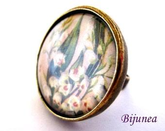 Flower ring - Spring Flowers ring - Adjustable flower ring - White flower ring - Nature flower ring r767