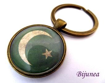 Pakistan keychain - Pakistan keychain - World country Pakistan keychain - Pakistan flag green moon star Pakistan country world map k171