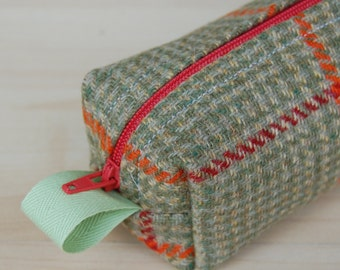 Green Wool Tweed Sm CA Roll (pencil or makeup case)