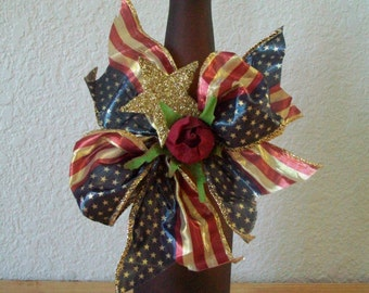 Patriotic Americana Vintage look Brown lighted Bottle, Gold Glitter Star,  Rose, American Flag Ribbon