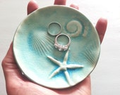 starfish fossil soap dish trinket treasure aqua  crackle ocean  handmade designer  day at the beach ceramic  ocean designer