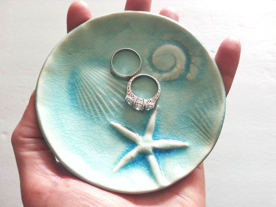 soap dish starfish fossil trinket treasure aqua ocean glaze handmade ring dish designer day at the beach ceramic  ocean designer
