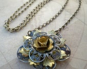 Mixed Metal Flower Necklace, Vintage,  Silver, Brass, Victorian Inspired, Romantic Necklace by Simply Willow