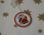 Father Christmas Necklace, Vintage Christmas Illustration Necklace