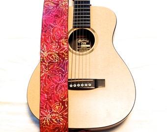 Vegan Guitar Strap- Plumeria-LIMITED pattern-hawaii-plumeria-flower-red-orange-yellow