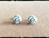 Stormy Gray Rose Cabochon Studs
