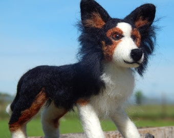 Custom Needle felted Border Collie Sculpture - Dog Art - Custom Dog Sculpture  - medium size
