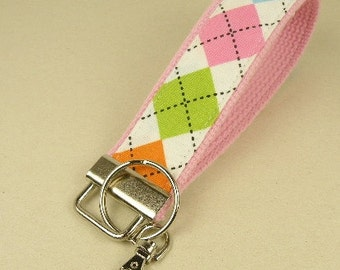 Key Fob Key Chain/Wristlet-with Swivel Hook--Preppy Argyle in Pink