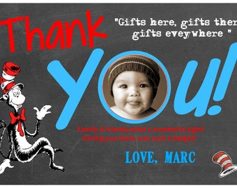 Dr. Seuss Thank You Card, Thank You Birthday Cards, Chalkboard Printable File