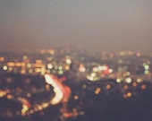 large wall art, abstract decor, bokeh photography, Los Angeles city lights at night, rainbow gold red, California LA poster art, cityscape